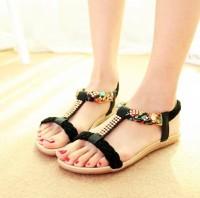 Sandal Wanita Teplek Flat Shoes Kepang Bunga TP21