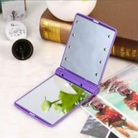 Cermin Lipat LED Kaca Rias Portable Saku Make Up Stand Mirror Slim