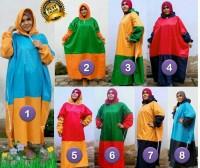 Mantel gamis JUMBO/Jas hujan muslimah UKURAN BESAR warna kombinasi