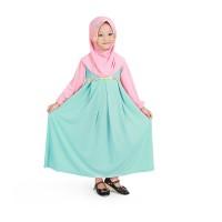 Baju Muslim Gamis Anak Perempuan Mint Peach Lucu Simple Murah