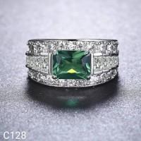 Cincin Perak Silver 925 Lapis Emas Batu Emerald Green C128