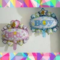 Balon Foil Baby Girl/ Baby Boy/ Balon Baby Shower by Queenballoon