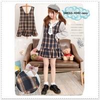 Mini Dress Kotak Tartan Rok Harajuku Jepang Baju Wanita Korea Import