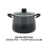 Maxim Heritage Panci Stock Pot 20cm +Tutup Kaca