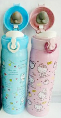 Thermos Botol Hello kitty / Doraemon ( Tutup Clip )