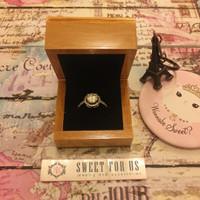 Brown Rustic Wood Ring Box Velvet Jewelry  Kotak Cincin Kayu Bantal