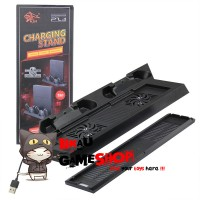 PS4 Slim Vertical Stand with Cooling Fan + USB Hub + Dual Charging