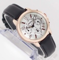 jam tangan wanita FOSSIL CHRONOGRAPH DATE ROSE GOLD PLAT WHITE LEATHER
