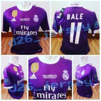 Jersey Real Madrid Away FINAL UCL 2017 + Cetak nama + Full Patch +MDT