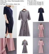 43560 Swing Belt Long Dress / Dress Pesta Panjang Biru Pink Abu-Abu