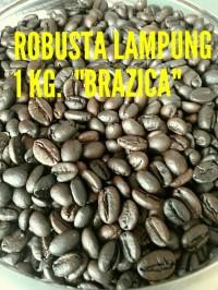 """Kopi Biji Robusta Lampung Merek Brazica """"Gold Quality"""" 1 Kg"""