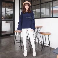 Baju Atasan Blouse Lebaran Wanita Lengan Ruffle Biru Navy