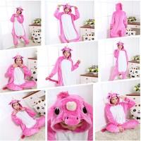 Pajamas / Piyama Onesie Dewasa Plush Lembut Unicorn Full Pink Fanta