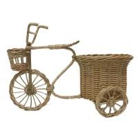 Kerajinan Tangan Rotan - Sepeda Vas Pot Bunga Bulat 15 x 15 x 34cm