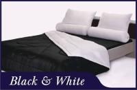 BED COVER SET SHYRA POLOS BLACK & WHITE UK.120 DOUBLE