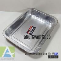 Nampan Stainless Steel 20 x 27 cm Merk 555 / Baki / Wadah