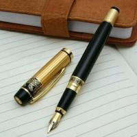 New Hero Fountain Pen Medium Nib Metal Plastic Golden Black pulpen her
