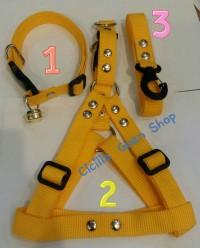 1 set Kalung lonceng + harness badan+ tali tuntun 2cm anjing kucing