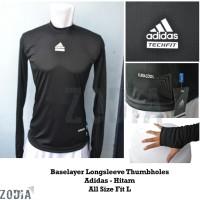 Baselayer/Manset Longsleeve Thumbholes Adidas - Hitam - Baju Olahraga