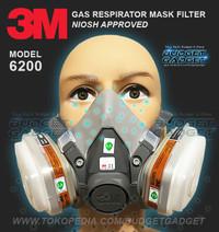 3M Masker Gas Respirator - 6200 Half Facepiece Mask