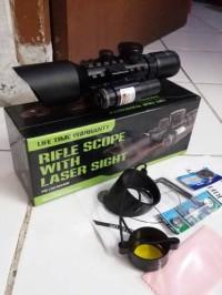 Tele Teropong Riflescope M9 3-10x42 E Red Laser