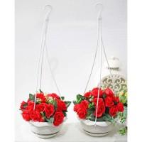 harga 1 set isi 2 bunga plastik hias artifisial mawar + pot gantung shabby 1 Tokopedia.com