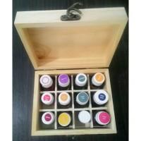 Box essential oil wood storage case 12 grids