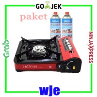 PROGAS Kompor gas portable Bisa Gas kaleng & Gas Elpiji + 2 Gas Kaleng