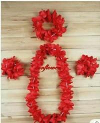 kalung bunga mahkota gelang hawai warna warni hula  lei kostum pesta