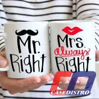Gelas Mug COUPLE Desain Mr Right dan Mrs Right, kado, hadiah, souvenir