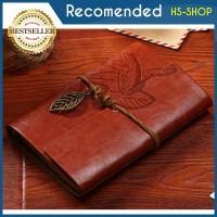 Buku Catatan / buku agenda / diary / Binder Kulit Retro Leaf Kertas A6