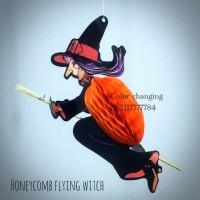 Lampion honeycomb penyihir terbang / flying witch pajangan Halloween