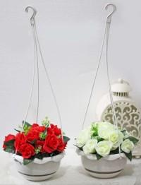 harga 1 set isi 2 bunga plastik hias artifisial mawar + pot gantung shabby 2 Tokopedia.com