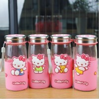Botol Kaca Hello Kitty Totoro Doraemon Tumbler Drinking Jar Tempat Air