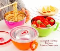 Fresh Bowl / Mangkok stainless dengan tangkai pegangan ( Ada tutup )