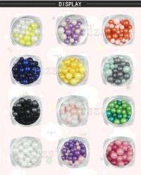 1set /12 color Mixed size pearl 3D Nail Art round matte decoration