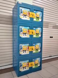 Lemari Plastik / Kabinet Plastik - NAIBA -Sponge Bob 3D - 4susun