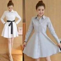 [Dress viana putgrey RO] dress wanita twiscont putih dan abu abu