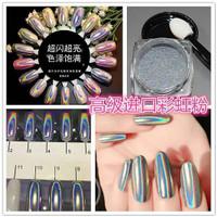 Nail holographic glitter chrome mirror hologram powder nails silver