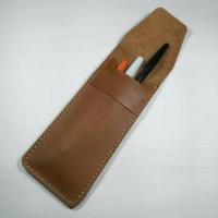 Tempat pensil desain simpel kulit asli warna tan | pensil case
