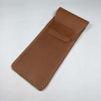 tempat pensil kulit kulit asli warna tan - pencil case - wallet