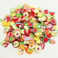 100pcs Fimo Slice motif buah