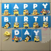 Banner Bunting Flag HBD Happy Birthday Ultah Minion Minions