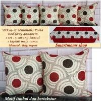 SARUNG BANTAL SOFA MINIMALIS /KURSI SET/SBK SET / RETRO POLKA RED GREY