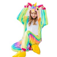 Pajamas Piyama Jumpsuit Onesie Dewasa Plush Lembut Unicorn Pelangi