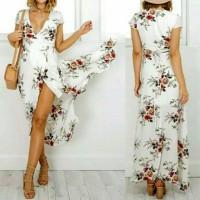 Dress Swing Maxi,V-Neck,Print Bunga ,Dengan Tali Pinggang Ikat Sendiri