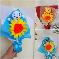 Paket 3 HandBouquet Buket Bunga Boneka Wisuda souvenir Birthday Stitch