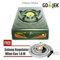 Kompor Gas 1 Tungku Progas + Selang Regulator Winn Gas 1,8 Meter SNI