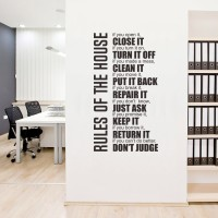 Wall Cutting Sticker Rules of House Stiker Dinding Kaca Rumah Quotes