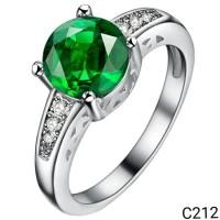 Cincin Perak Silver 925 Lapis Emas Cubic Zirconia Emerald Green C212